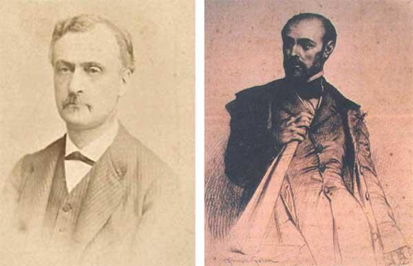 Le propriétaire Alfred François Silhol (©photo Charles Reutlinger) et l'architecte Léon Feuchère (portrait de Joseph Felon -1857 ©Musée Vieux Nîmes)