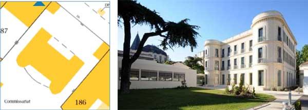 Plan de l'hôtel Silhol et façade arrière sur jardins