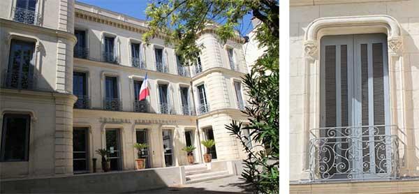 Façade de l'avenue Feuchères et détail des fenêtres